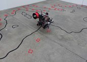 Ruth Schnell (AUT), Risiko, Installation, 2017. [Dimensions variable 3D printer robotic system, floor drawing (chalk), 3D printed objects (PLA) Assistance: Patricia Köstring Robotics: Niki Passath]. www.ruthschnell.org