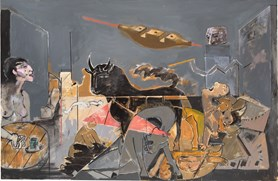 Reference to Guernica. Painting
